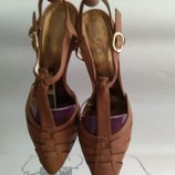 Качество бренд Италия босоножки кожа Alberto Zago р. 4 37 коричневые Оригинал