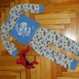 Пижама детская белая с голубым Зайчики на автомобилях на малыша 2-3 года