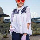 Блузка школьная белая с кружевом девочке подростку