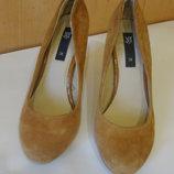 туфли рыжие замшевые Mango 38 стелька 25 см