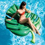 Intex 58782, пляжный надувной матрас-плот пальмовый лист 213х142 см