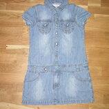 Фирменное джинсовое платье на девочку 110-116см. На худенькую девочку.
