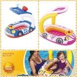 Надувная лодочка- плотик Машинка розовая / Полиция BW 34103 Bestway
