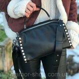 женская кожаная сумка Polina Eiterou черная бежевая белая розовая жіноча шкіряна чорна біла