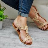 Распродажа Женские босоножки с камнями бежевые со стразами сандалии