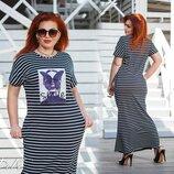 Женское длинное трикотажное летнее платье макси в полоску женские трикотажные летние длинные платья
