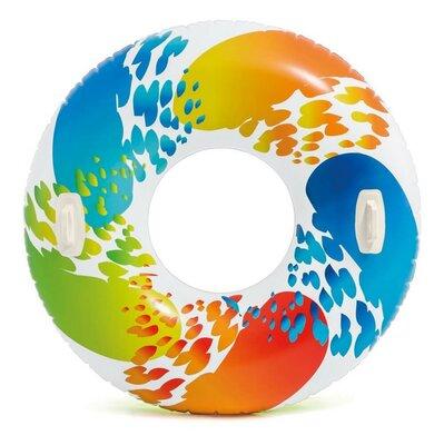 Надувной круг Intex 58202 Цветные полосы, с ручками, 122 см