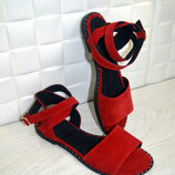 Босоножки натур замша,натур кожа красные 36-43р все цвета индивидуальный пошив