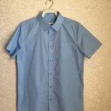 Рубашка голубая школьная на коротком рукаве мальчика 10-11 лет