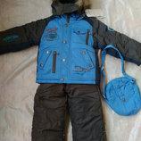 Зимний супер теплый комбинезон на мальчика аналог KIKO 2-3 года сумочка
