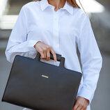 Сумка-Портфель для ноутбука компьютера кожаная черная