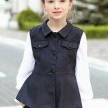 Школьный жакет жилет пиджак школьная форма девочки 110 116 122 128 134 140 146 152 158 синий