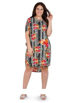 Акция 239 гр.Летнее легкое платье рубашка . Ткань штапель , размер 2 XL, 3 XL ,4 XL . 52,54,56.