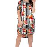 Женское летнее платье рубашка . Ткань штапель , размер 2 XL, 3 XL ,4 XL . 52,54,56.