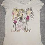 Белая трикотажная футболка TU на девочку 8 лет. Рост 128 см.