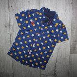 Шведка рубашка нарядная синяя яркие желтые звезды 1,5-2 года, рост 86-92 см.