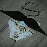 36/XS H&M стильный коричневый раздельный купальник бандо новый