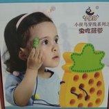 Дерев'яна іграшка - Шнурівка. Розвиваючі ігри для дітей.