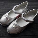 Туфли Том.м 5282В праздничные ромашки silver 23-32