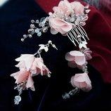 Лучия серьги и гребень с розовым кварцем- бесплатная доставка