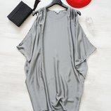 Оверсайз платье Monki серебристого цвета, шелковистая ткань