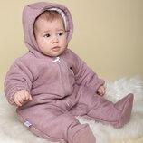 Детский теплый демисезонный комбинезон для новорожденной девочки малышки 62 68 74 сирень