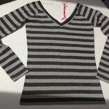 Fishbone. Полосатая блуза с вырезом мысик . M - L размер.