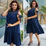 платье Ткань супер софт гипюр макраме Турция. Цвет мята , голубой,бутылка,темно-синий,джинсовый,чёр