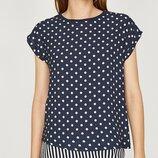 Женские летние блузки с принтом горох полоса клетка софт с коротким /длинным рукавом свободного кроя