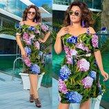 Платье Ткань софт Цвет цветочный принт, Електрик, Пудра Длина платья 110см.