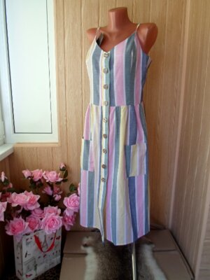 42,44,46,48 платье-сарафан миди в вертикальную полоску