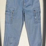 Винтажные джинсы бриджи на манжетах.