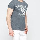 Мужская футболка серая lc waikiki / лс вайкики меланжевая с надписью oakland state