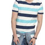 Мужская футболка белая lc waikiki / лс вайкики в сине-голубую полоску