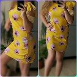 С-М Новое Желтое Шифоновое платье,цветочный принт