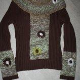 Красивый свитер цвета шоколад р-38/40 в отличном состоянии
