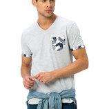 Мужская футболка серая lc waikiki / лс вайкики с цветным карманом и манжетами