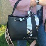 Женская кожаная сумка Polina & Eiterou с платком черная белая жіноча шкіряна чорна біла