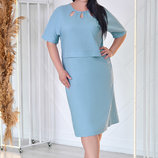 Летнее Льняное Платье прямого силуэта с коротким рукавом 52-58р