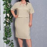 Изумительное Льняное Платье прямого силуэта с коротким рукавом 52-58р