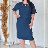 Модное Льняное Платье прямого силуэта с коротким рукавом 52-58р