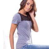 Стильная футболка с гипюровой вставкой. Большой размер 2XL / 3XL.