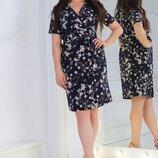 Нежное платье на запах с цветочным принтом ткань Софт 50, 52, 54, 56 размер