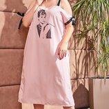 Платье-Рубашка свободного кроя до 60 размера