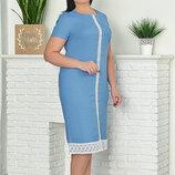 Легкое Летнее льняное платье с кружевом 52-62р