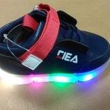 Светящиеся кроссовки 21-26 р. W.Niko, кросовки, кросівки, внико, синие, мигают