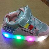 Светящиеся кроссовки 21-23 р. W.Niko на девочку, кросовки, кросівки, внико, дівчинку, серебристые