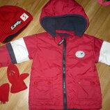 Куртка пуховик красная на мальчика 80-86р. Шапка и рукавицы в подарок