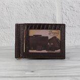 Купюрник-Зажим для денег магнитный кожаный desisan 038-142 кофе с отделами для карт