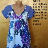 р. 14 / 48-50 Роскошная легкая хлопковая блуза футболка с коротким рукавом в цветочный принт Next